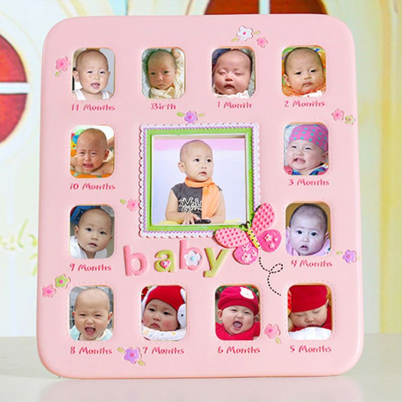 Baby 1 To 12 Month Baby Growth Album Year Photo Frame Picture Home Decor Newborn Kids Birthday Gift Decorations