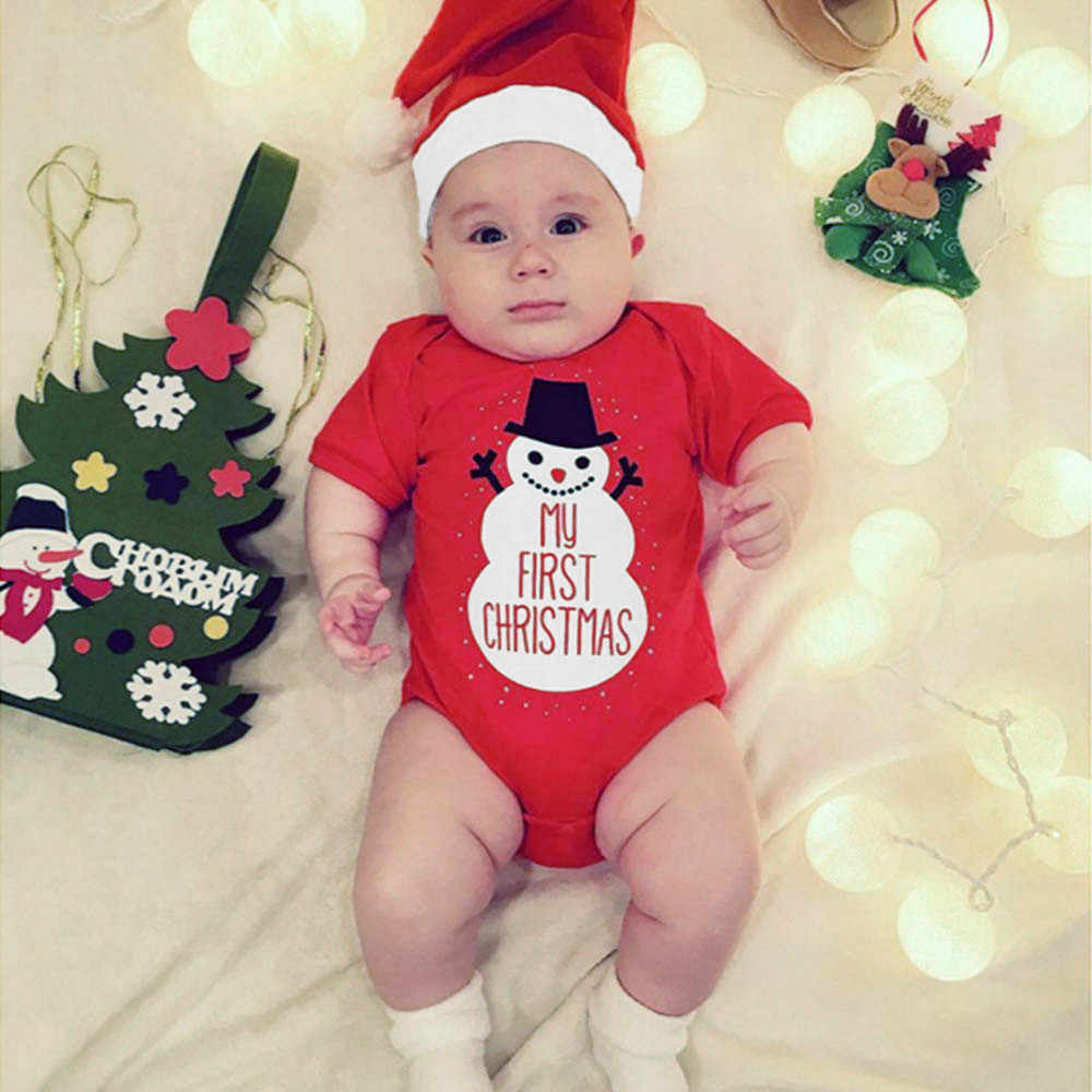2PCS Fashion baby girl Boys clothes baby sets cotton Christmas Toddler Cartoon Snowman Letter Print Romper+Hat Set Outfit H4