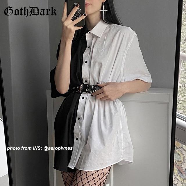 Goth Dark Loose High Waist Mini Dress Patchwork Summer Fashion Gothic Women Dress Turn-Down Collar Casual Party Dresses 2021 90s 2