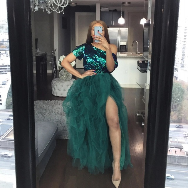 Hot Sale High Slit Tulle Tutu Skirts Extra Puffy Ball Gown Prom Dresses Hi Slit Women Long Skirt Party Gown NO TOP 2