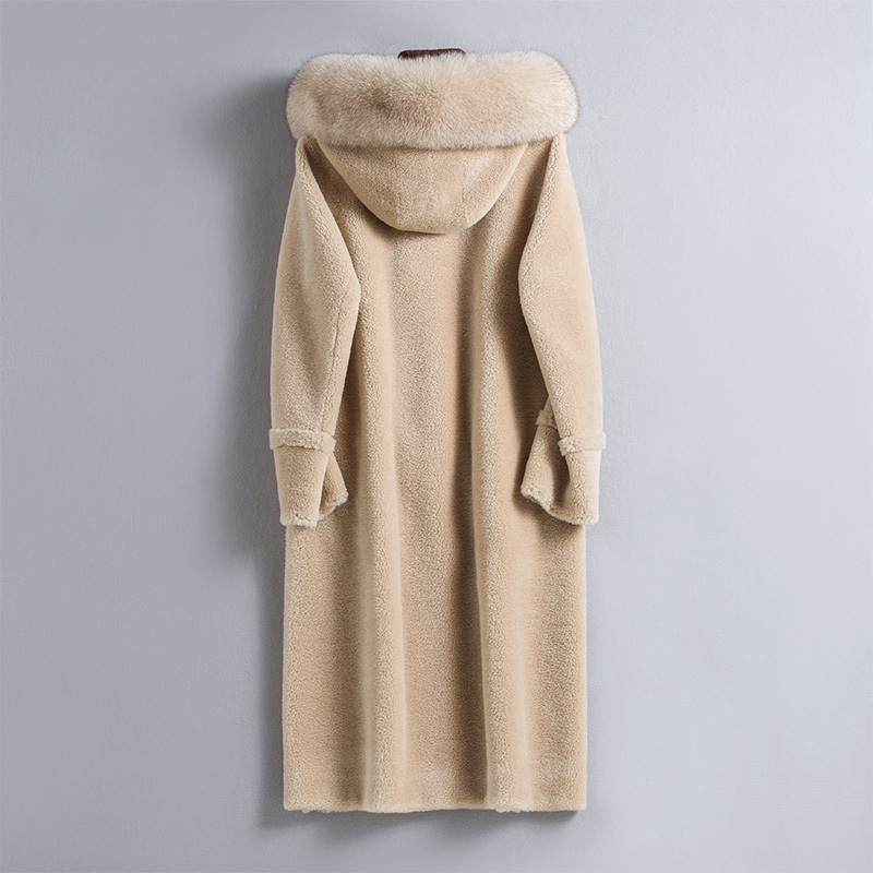 Sheep Real 2020 Shearling Fur Coat Female Real Fox Fur Collar Wool Coats Winter Jacket Women Korean Long Jackets MY4121 S S