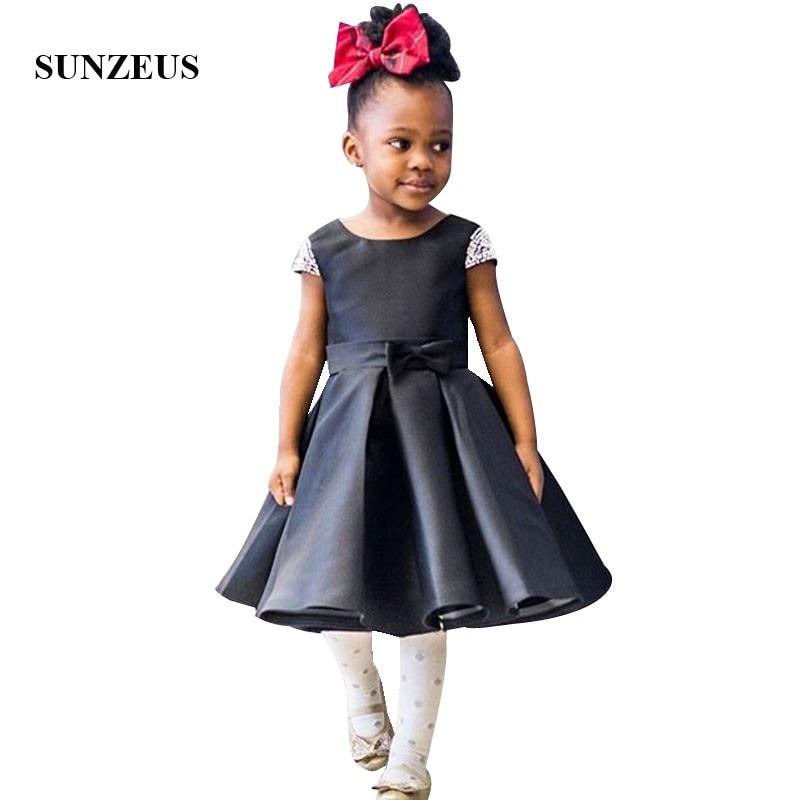 Tea Length Black Satin Children Party Dress Beaded Cap Sleeves Flower Girl Dresses Kids Prom Gowns 2019