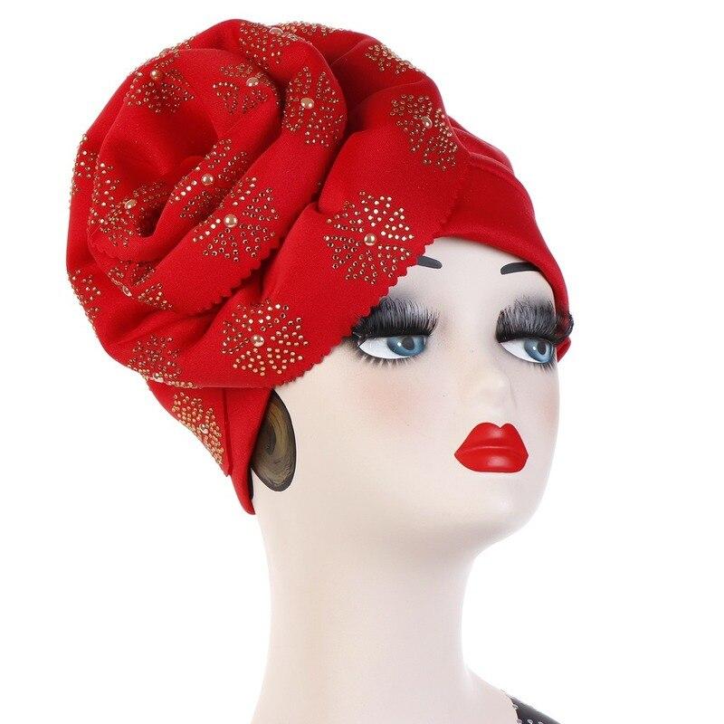 Image 5 - Helisopus Muslim Big Flowers Turban Women Shiny Glitter Oversized  Flower Hijab Bandana Head Cover Beanie Chemo Caps AccessoriesWomens  Hair Accessories
