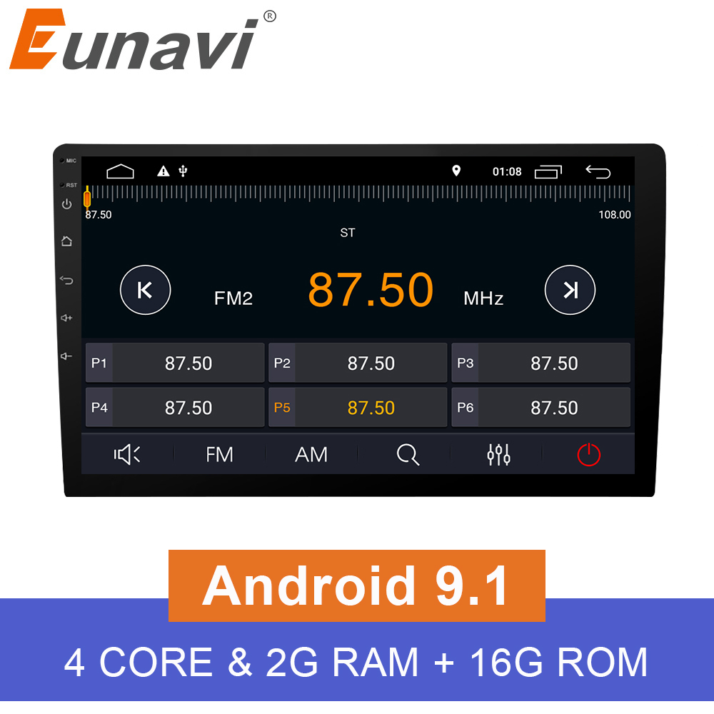 Eunavi 10.1'' 2 din TDA7851 quad core Android 9.1 Universal Car Radio GPS Navigation capacitive screen stereo BT wifi 3g swc-in Car Multimedia Player from Automobiles & Motorcycles    1