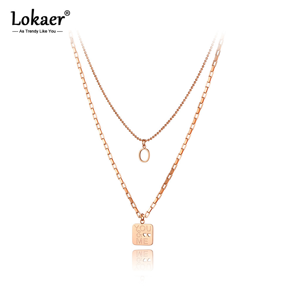 Lokaer Trendy Romantic Stainless Steel Double-layer You & Me Charm Choker Necklace Love Heart Pendant Necklaces For Women N20079