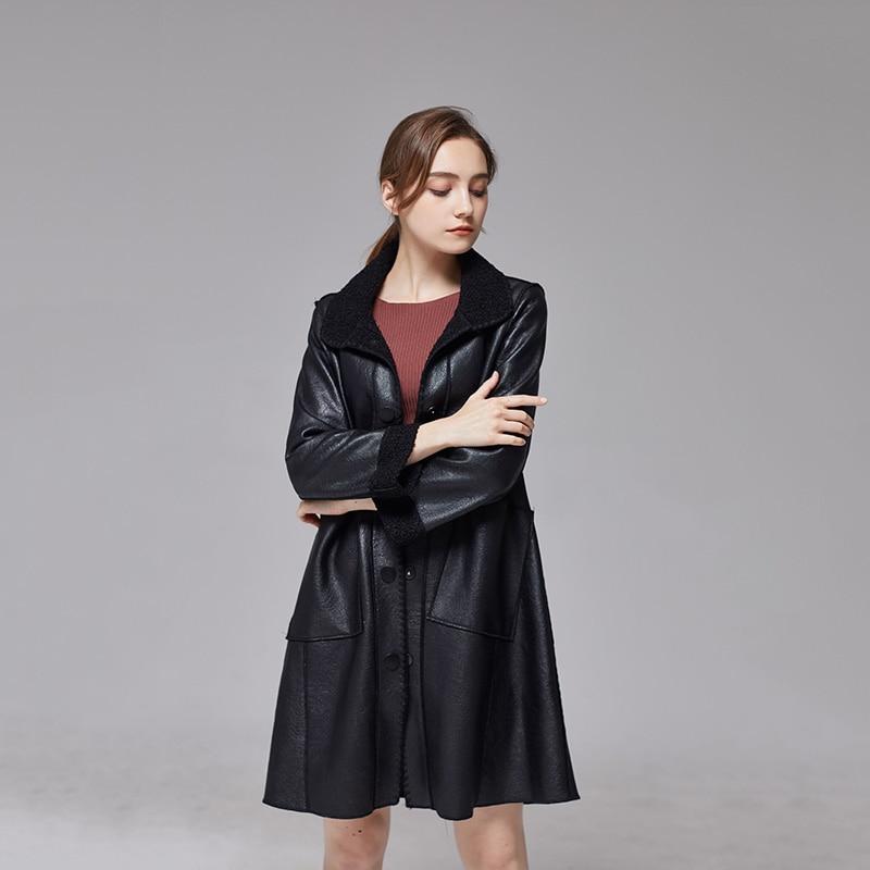 XL-5XL Winter Fleece Female   Leather   Jacket Black PU   Leather   Coat Casual Turn Collar Loose Thick Warm Women Long Pocket Outerwear
