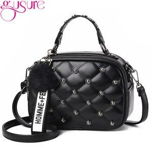 Gusure Plaid Rivet Lady Crossbody Bags Fashion PU Leather Shoulder Bags Women Messenger Bag Fur Ball Pendant Girls Small Bag