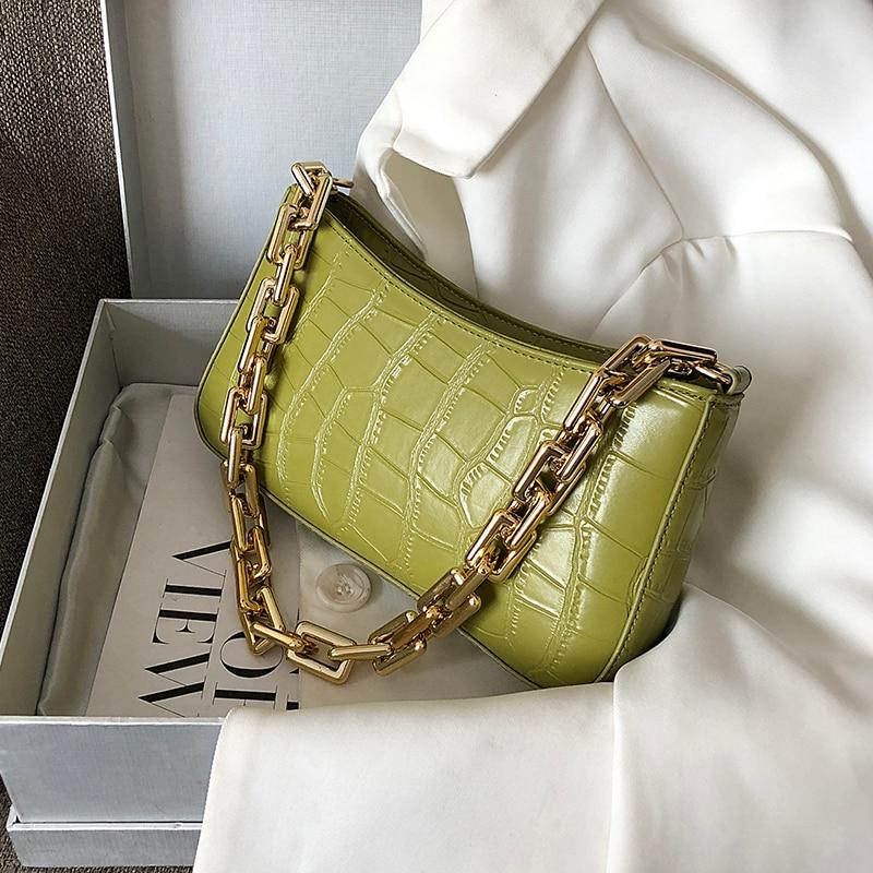 Женская сумка из искусственной кожи с каменным узором на подмышках, 2020 однотонная металлическая цепочка, сумки на плечо, Женская дорожная модная ручная сумка|Сумки с ручками|   | АлиЭкспресс - Ультрамодные сумки