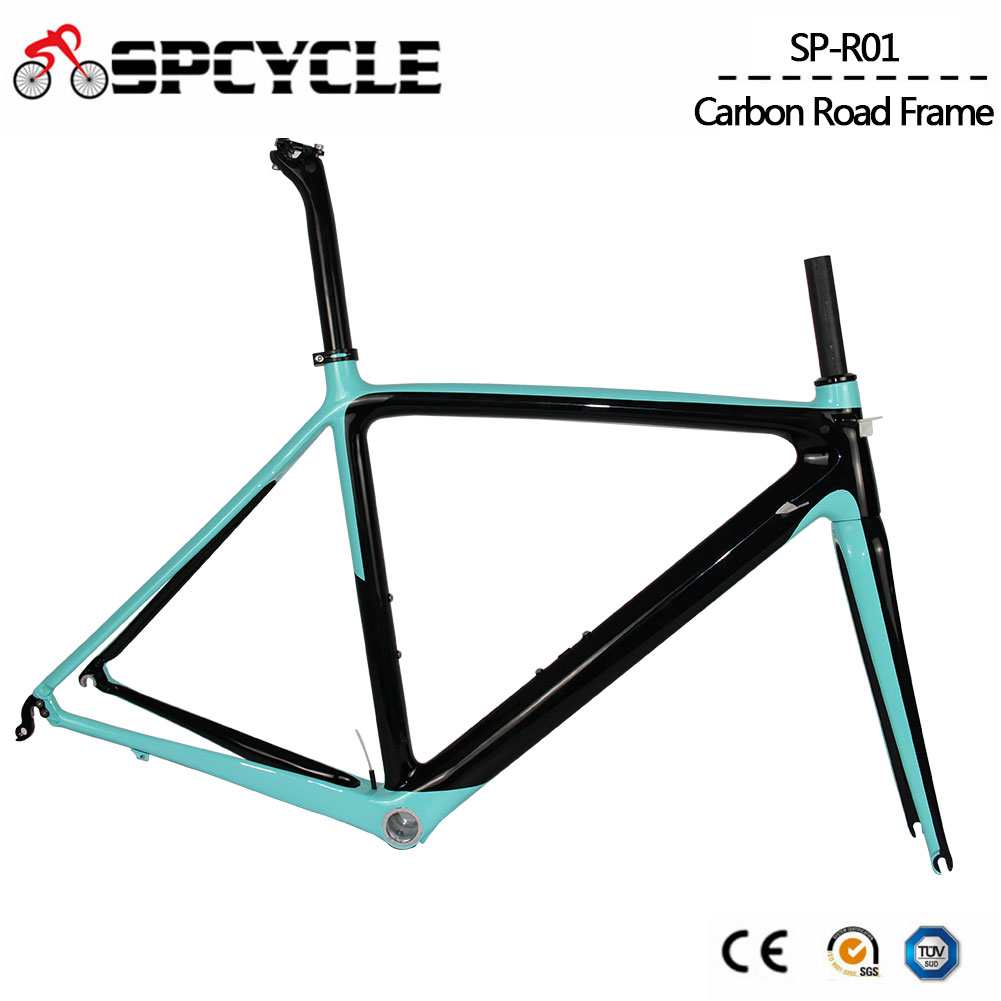Spcycle 700C Full Carbon Road Bike Frame BSA Racing Road Bicycle Carbon Frameset Fork Seatpost Size 50/53/55cm 2 Year Warranty