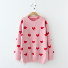 2020 Autumn Winter Women's Blossom Knitwear Sweet Towel Embroidery Love Loose Edition Warm Pullovers Sweater 209579(China)