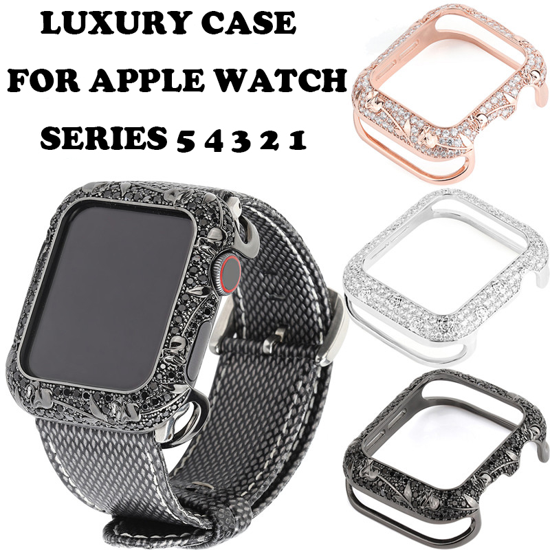 Luxury Bling Diamond Case Cover Shockproof Accessories For Apple Watch Series 5 <font><b>4</b></font> <font><b>3</b></font> <font><b>2</b></font> 1 Hard Case For iWatch 38mm 40mm 42mm 44mm image