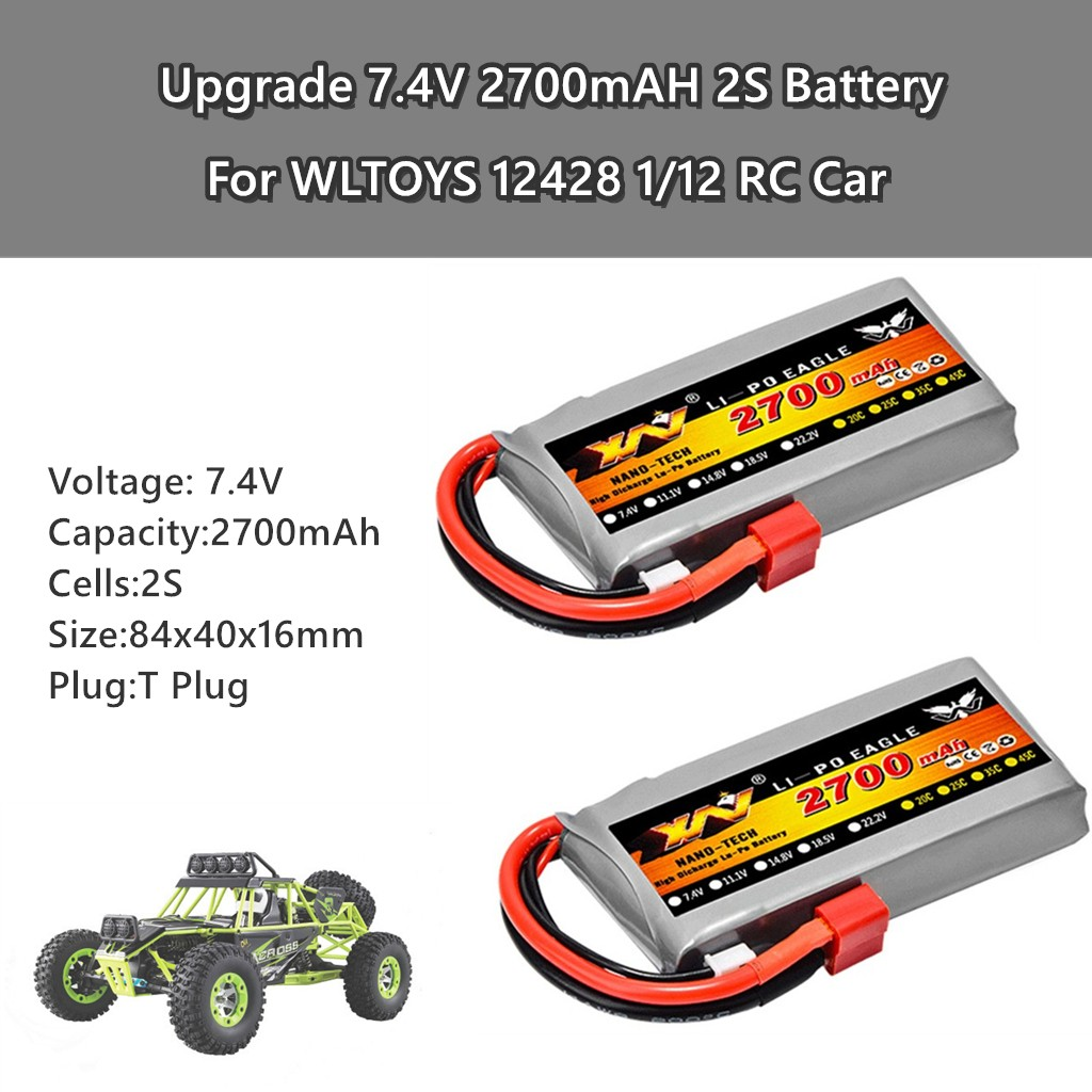 2PCS Upgrade 7.4V 2700mAH 2S Battery Spare Part  For WLTOYS 12428 1/12 RC Car Baby Toys Детские игрушки Juguetes Para Niños