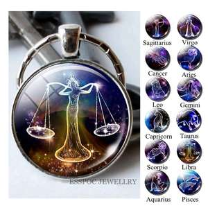 12-Constellations Keychain Jewelry Pendant Sign Key-Rings Zodiac Libra Aries Fashion