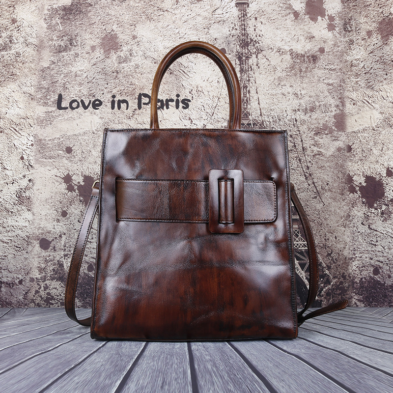 Casual Tote Genuine Leather Large Capacity Luxury Handbags Women Bags 2020 New Vintage Cowhide Female Shoulder Bag