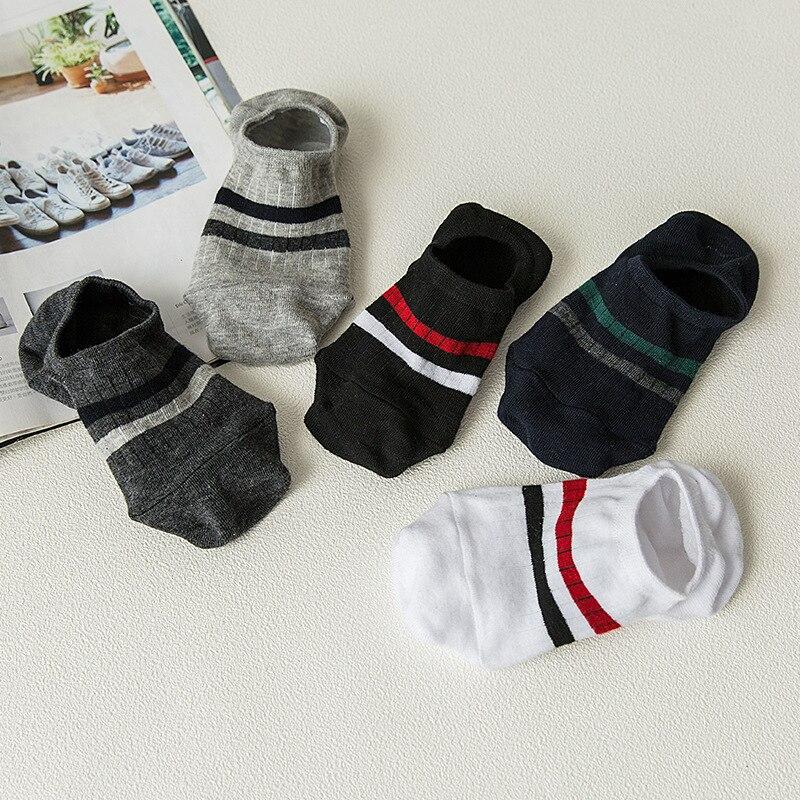 Socks Men's Spring And Summer-Men's Socks Body Two Bars Cotton Hidden Socks Silica Gel Anti-slip Cotton Socks Short Socks Supply