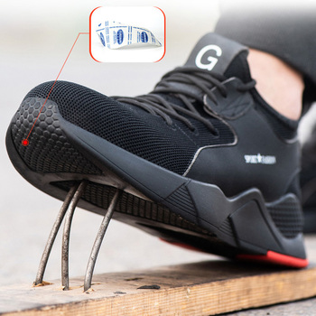 Мужская Рабочая обувь со стальным носком; камуфляжные мужские ботинки; дышащие повседневные кроссовки для улицы; нескользящие рабочие боти...