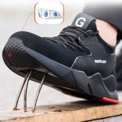 Masculino Biqueira de Aço Sapatos de Segurança do Trabalho Botas de Camuflagem Homens Tênis Casuais Ao Ar Livre Respirável Anti-esmagamento Piercing Segurança do Trabalho Boot
