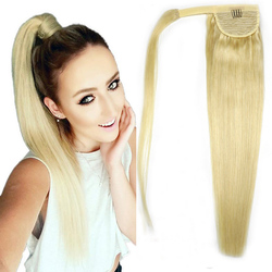 ZZHAIR 120g 16-28 Machine Made Remy Hair Magic Wrap Around Ponytail Clip In 100% Human Hair Extensions Horsetail Stragiht