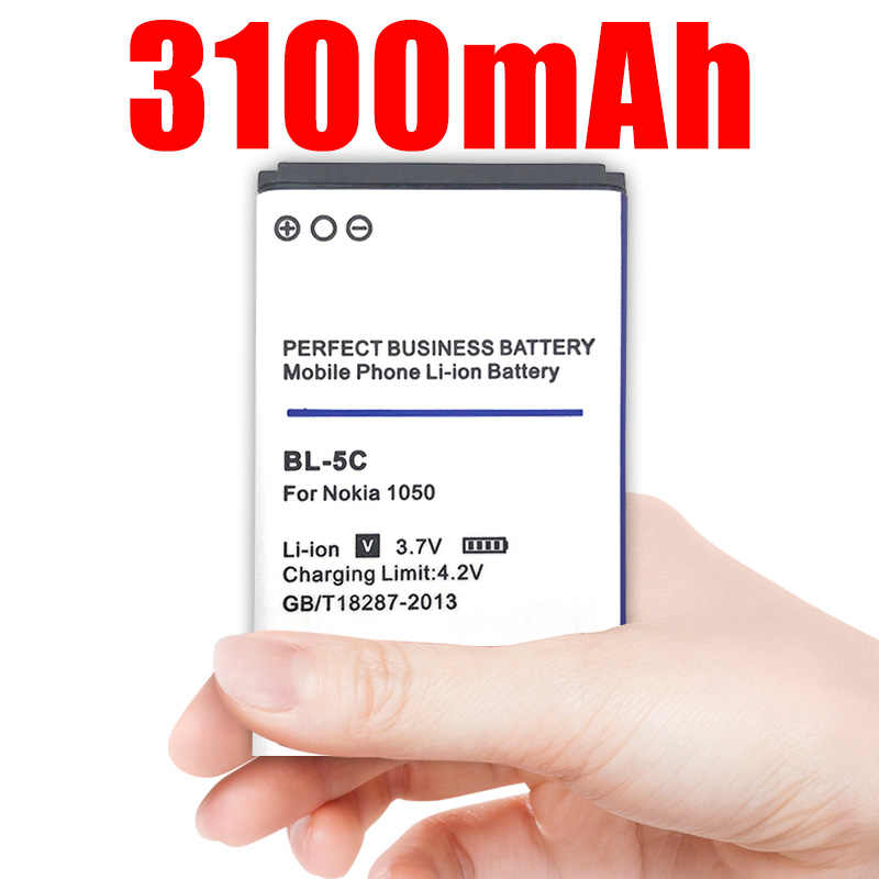 BL-5C BL5C BL 5C Replacement Li-ion Lithium Battery 3100mAh Batteries for Nokia 1112 1208 1600 2610 2600 n70 n71
