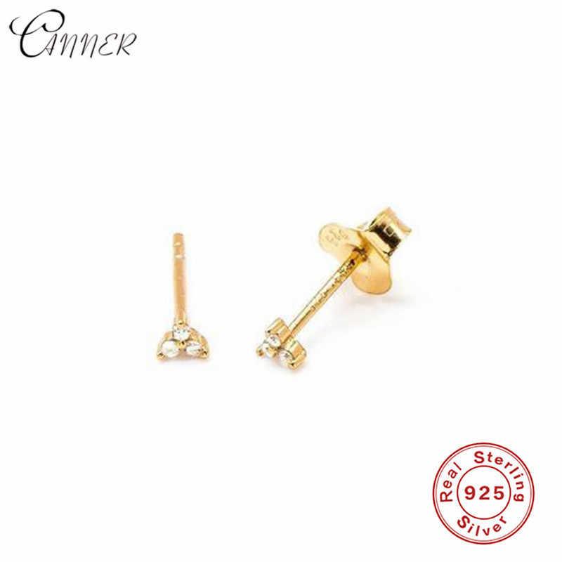 CANNER Delicate CZ Flower Stud Earrings for Women Jewelry Cartilage Helix Three Ball Zircon Earrings 925 Sterling Silver Earring