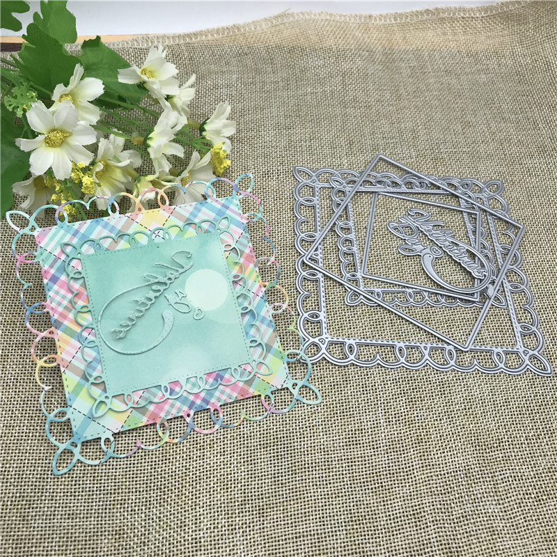 Square Photo Album Decorative Metal Cutting Dies Stencil Scrapbooking Photo Album Card Paper Embossing Craft DIY Die Cut