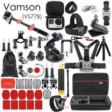 Vamson for Gopro Accessories Set for go pro hero 9 8 7 6 5 4 kit 3 way selfie stick for Eken h8r / for yi EVA case VS77