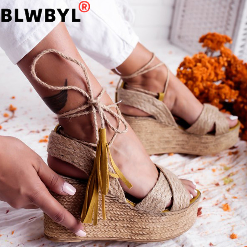 Summer Sandals Wedges 2020 New Sandals Ankle Wrap Fashion High Heel Platform Ankle Strap Open Toes Women Sandals Shoes