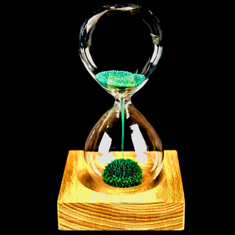 Wood glass + Iron Powder Sand Iron Flowering Magnetic Hourglass with Packaging Hourglass 13.5 * 5.5cm Wooden Seat Gift Presents