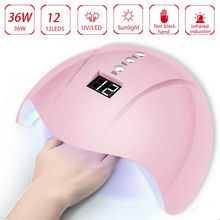 wenyi 2 hand 72w lamp for nails 10s 30s 60s 99s timer uv led gel light lamp nail art manicure machine dryer for nails Nail Dryer Led UV Nail Lamp 12 UV Lamp Beads for All Gel Nail Dryers 30s / 60s / 99s Smart Sensor Timer Nail Lamp Nail Art Tools