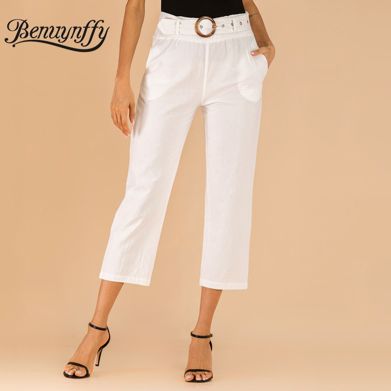 Benuynffy Fashion Pocket White Capris Trousers Women's Summer Casual OL High Waist Pants Female Calf Length Pants With Belt