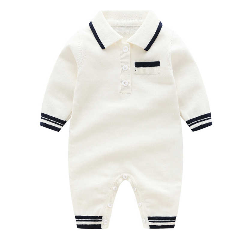 2019 Bayi Laki-laki Pakaian Baru Lahir Lengan Panjang Romper Spring Kerah Balita One Piece Celana Kodok Kapas Merajut Anak-anak Pakaian