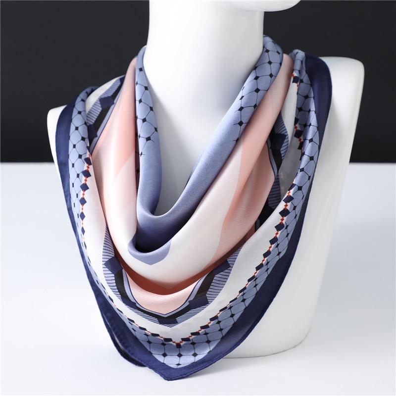70*70cm Square Scarf Neck Hair Tie Band Women Elegant Dot Print Scarves Headband Foulard Female Neckerchief