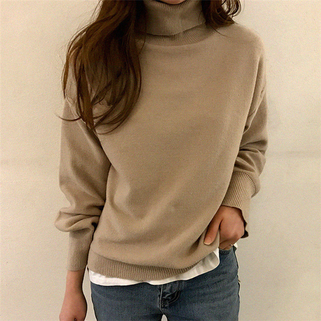 Ailegogo New 2019 Autumn Winter Women's Sweaters Turtleneck Loose Warm Minimalist Tops Korean Style Knitting Ladies SW8307 2