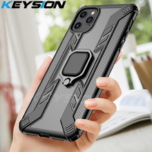 KEYSION Shockproof Armor Phone Case for IPhone 2019 11 Pro Max Stand Car Ring Back Cover New