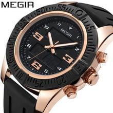 цена MEGIR Top Brand Men's Fashion Sport Watches Men Quartz Analog Date Clock Man Silicone Military Waterproof Shockproof Watch онлайн в 2017 году