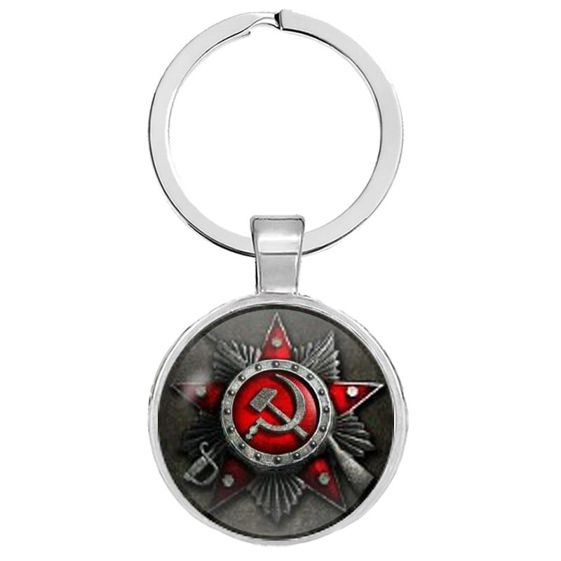 CCCP Russia Emblem Communism Keychains USSR Soviet Badges Sickle Hammer Keyrings Gifts Jewelry Llaveros