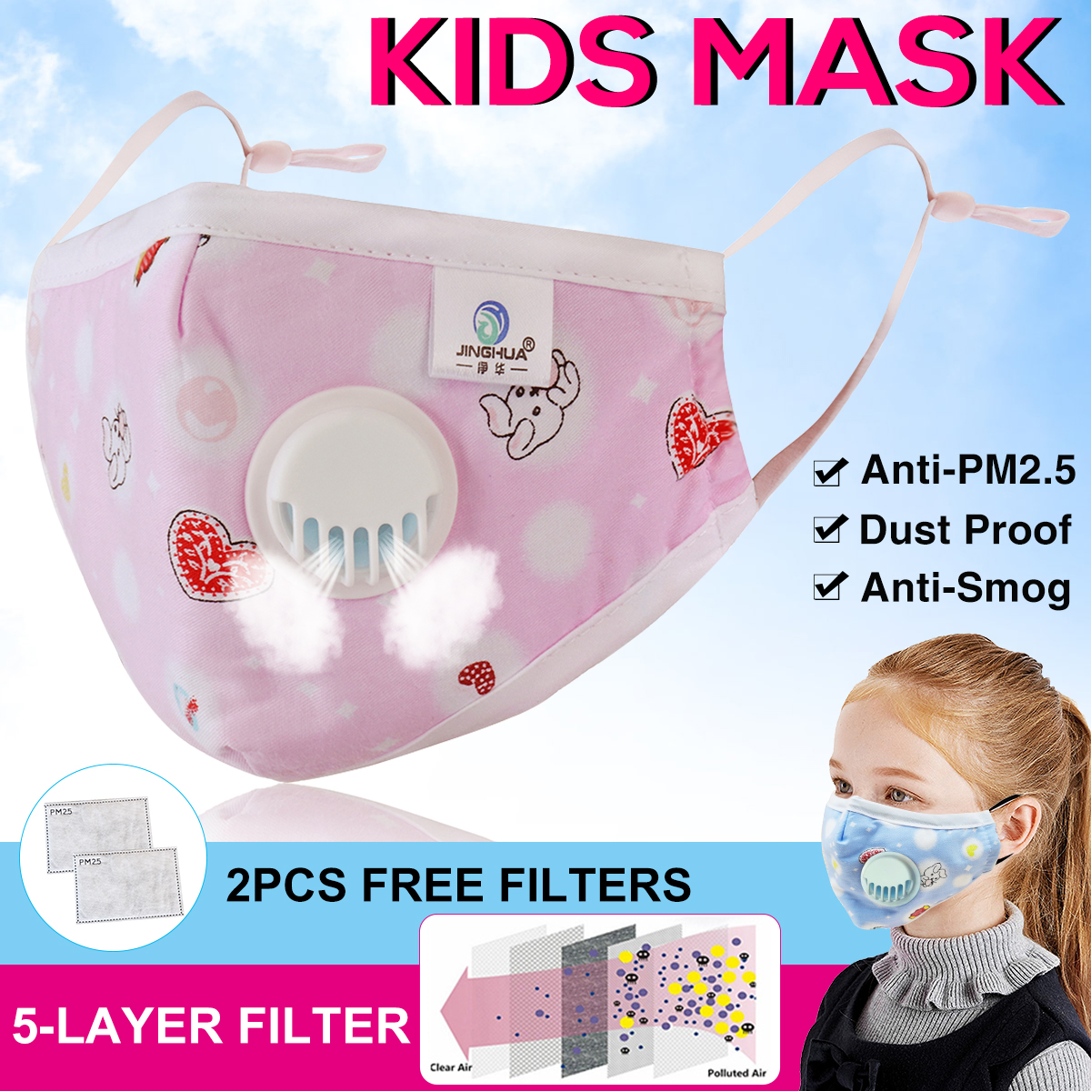 Anti PM2.5 Face Mouth Mask With Breathing Valve 5 Layers KN95 Filters Replacement Filter Anti-Dust Bacteria Proof Kids Masks