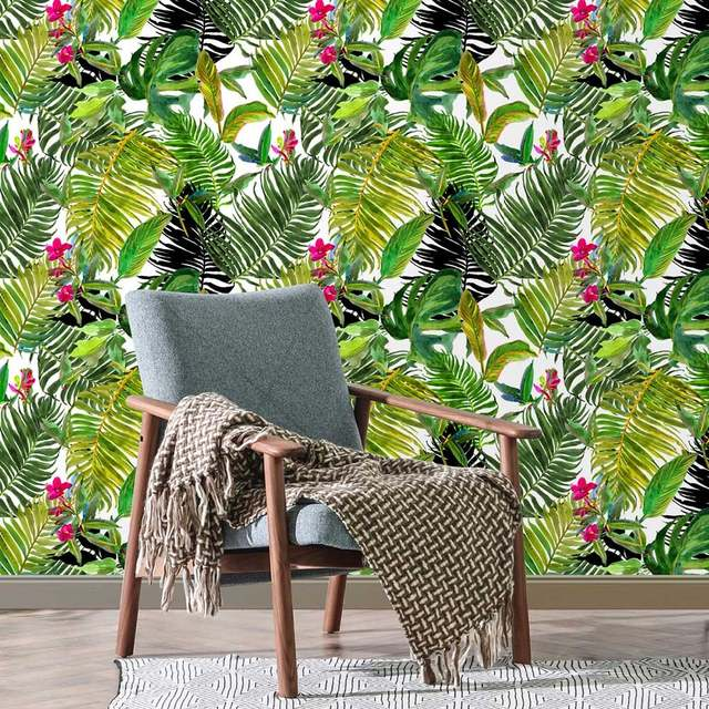1pc Diy Pvc Wall Sticker Wallpaper Self Adhesive Tropical Palm Leaf Peel And Stick Wallpaper Waterproof House Room Decor