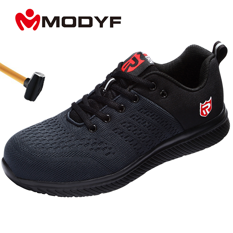 MODYF Men Safety Steel Toe Work Shoes Breathable Lightweight Casual Construction Industrial S3 Shoes Wear-Resisting