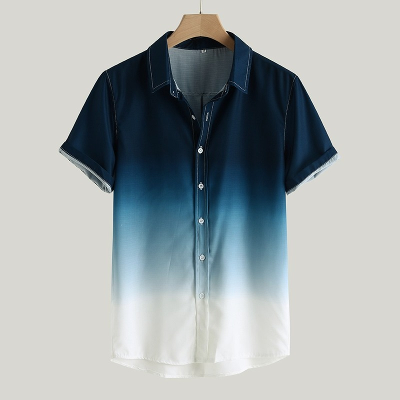 Men Fashion Shirt Men 2020 Summer New Lapel Gradient Loose Men Shirt Short Sleeve Casual Plus Size Shirt Men Clothes