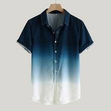 Мужская Мода Мужчины Рубашка 2020 Летний Новый Нагрудные Градиент Свободные Рубашки Мужчины С Коротким Рукавом Повседневная Рубашка Плюс Размер Мужская Одежда