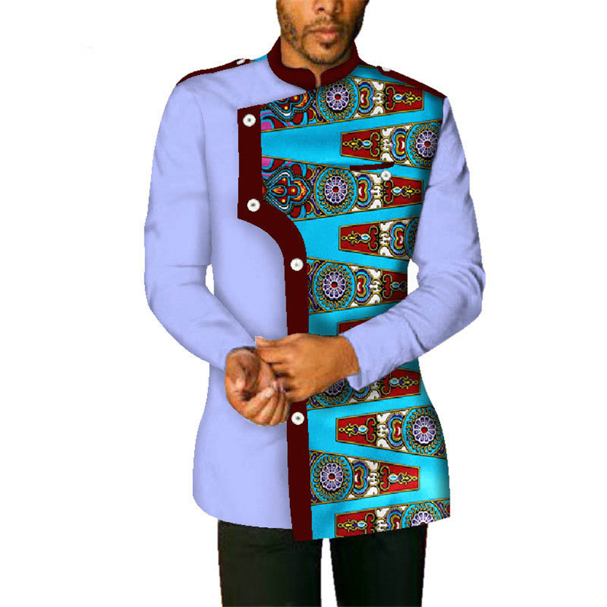 Traditional & Cultural <font><b>Men</b></font> <font><b>African</b></font> Clothes 2019 News 100%cotton Bazin <font><b>Wax</b></font> Fabric Dashiki Print <font><b>Shirt</b></font> Tops Clothing <font><b>African</b></font> Dress image