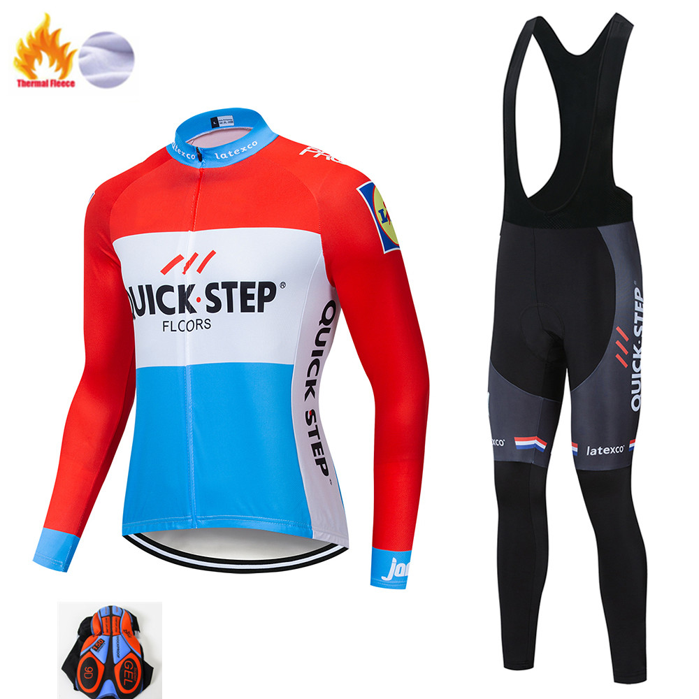 quick step2019 Winter Thermal Fleece Cycling Clothes Men's Jersey Suit Outdoor Riding Bike MTB Clothing Bib Pants Set