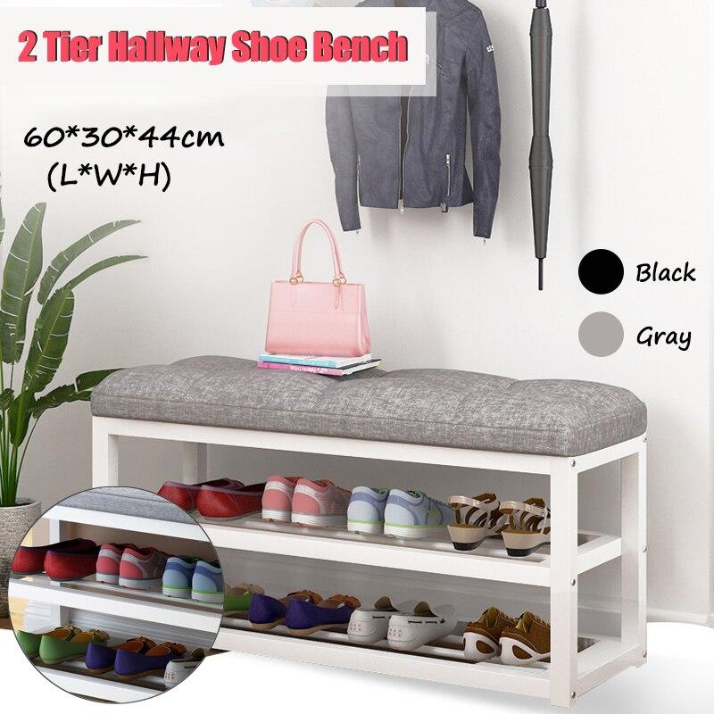 2 Tier Shoe Storage Stool Living Room Shoe Rack Simple Change Shoe Bench Organizer Cabinet Hallway Seat Chair Shelf Holder