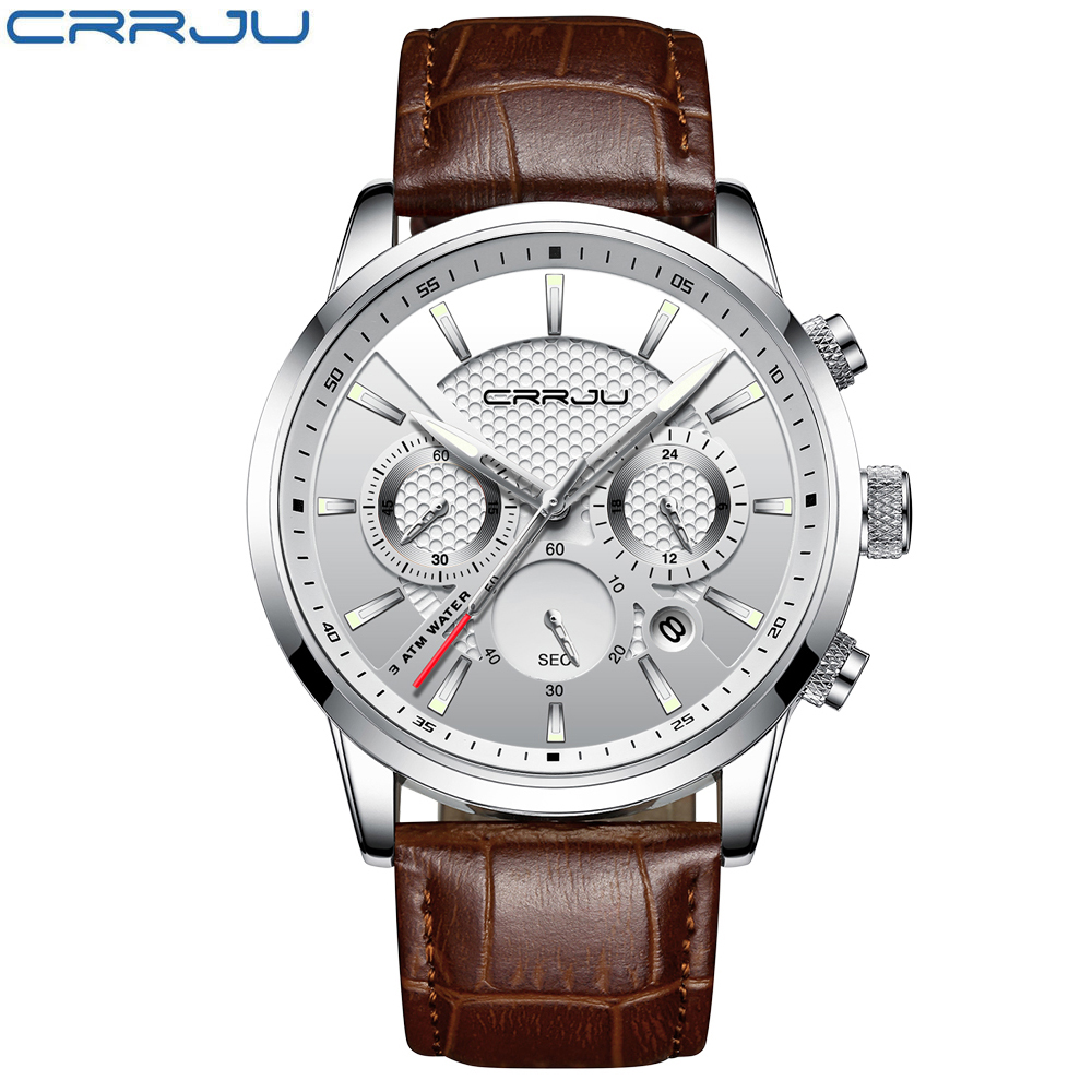 CRRJU New Fashion Men Watches Analog Quartz Wristwatches 30M Waterproof Chronograph Sport Date Leather Band Watches montre homme 2