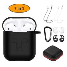 7 in 1 Strap Holder/Wireless Earphone Silicone Case Protective Cover for TWS Bluetooth EarPhone Accessories