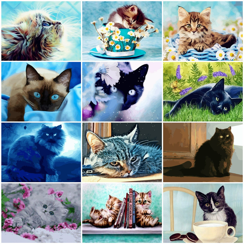 HUACAN Oil Painting By Numbers Animal Drawing On Canvas HandPainted Art Gift DIY Paint By Number Cat Kits Home Decoration