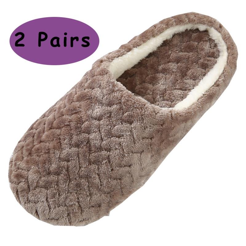 2 Pairs Winter Shoes Men Home Slippers Women Slippers Flip Flops Warm Plush Flip Flops Mens Fur Slides Hotel Slippers Pantufa