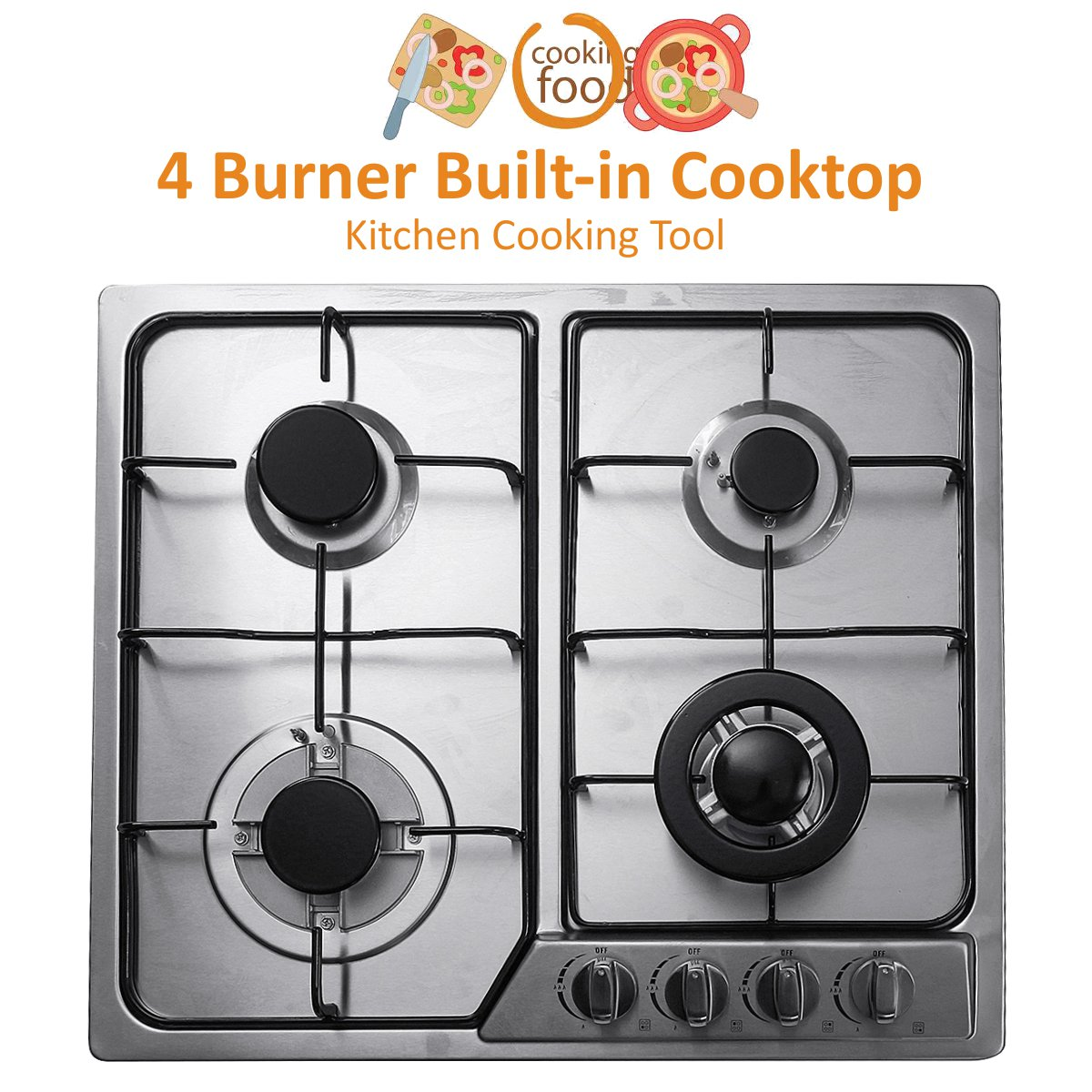 58x50cm 4 Burner Built-in Cooktop Stainless Steel Gas Stoves Natural Gas Hob Kitchen Cooking Appliance Cookware Gas Cooker