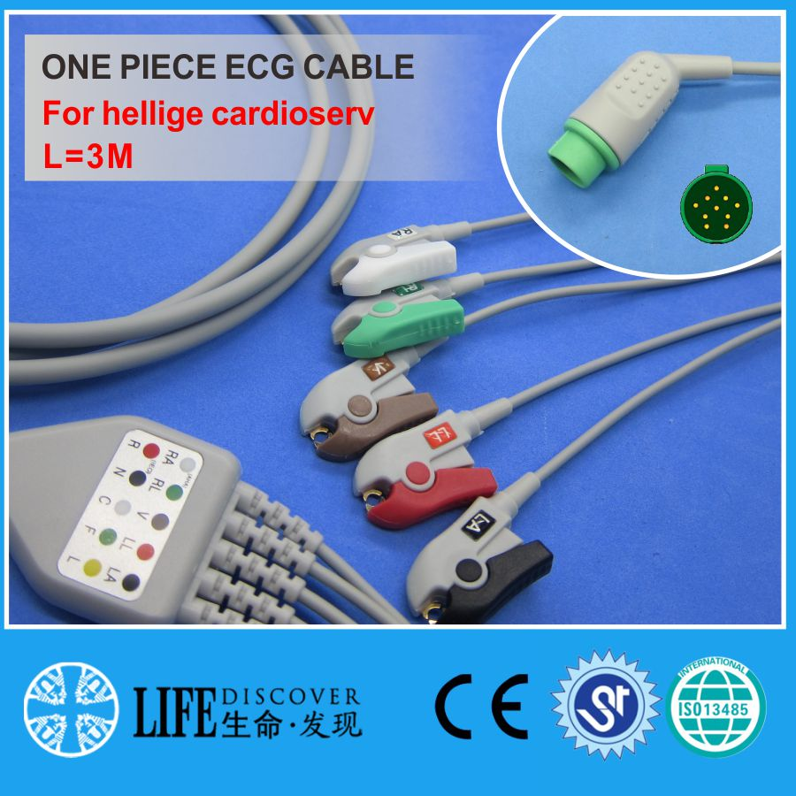 ECG CABLE With 5 Leadwires Clip For Hellige Cardioserv Patient Monitor